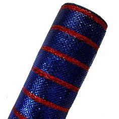 Deluxe Metallic Stripe Deco Poly Mesh Color: Navy with Royal Foil and Laser Red Foil Material: Synthetic Poly Size: 21 in width by 10 yards length ...great for Ole Miss Rebels wreaths! $12.99