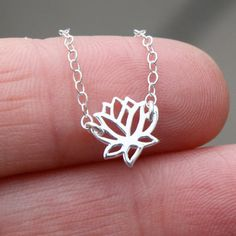 SS tiny lotus flower charm necklace