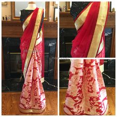 Tassar printed Saree with Banarasi net palla