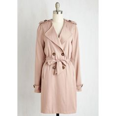 Menswear Inspired Long Long Sleeve Trench Twist Jacket by ModCloth (€115) ❤ liked on Polyvore featuring outerwear, jackets, apparel, brown, coats, button trench coat, long jacket, pink trench coat, belted jacket and long trench coat