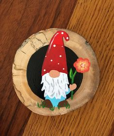 Wood circle painting to hide as act of kindness Wood Slice Crafts, Jute Crafts, Wood Crafts, Circle Painting, Painting On Wood, Fall Crafts, Arts And Crafts, Diy Xmas Gifts, Wooden Slices