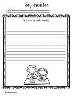 """SOY ESCRITOR/RA"" TRABAJAMOS LA ESXPRESIÓN ESCRITA Y LA ESCRITURA CREATIVA DE PROFE MIRICLETA -Orientacion Andujar School Items, I School, Writing Workshop, Writing Prompts, Writing Ideas, Doodle Frames, Spanish Classroom, Math For Kids, How To Speak Spanish"