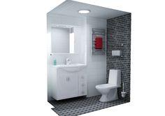 Kylpyhuonesuunnitelma Black and White.   Modernin ja ajattoman musta-valkoisen kylpyhuoneen tunnelmaa on helppo muuttaa esimerkiksi värikkäin pyyhkein. Mosaiikkimaisen eläväpintainen musta kuviolaatta Enjoy yhdistyy mukavasti valkoisen kiiltävän Lumi-seinälaatan kanssa. Huomaa myös Cello Spa -kylpyhuonetarvikkeet mm: wc-harjateline ja mustalle seinälle kiinnitetyt lasihyllyt. Lue lisää K-raudan sivuilta!  www.k-rauta.fi