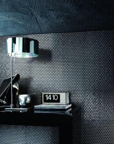 Ceramic wall tiles PAILLETTES by LEA CERAMICHE #mosaic #golden #black @Lea Ceramiche