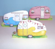 Camper trailers a collection of three stand up by LisaJaneSmith, $25.00