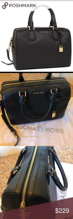 "MICHAEL Michael Kors Mercer Medium Leather Duffel NWOT MICHAEL Michael Kors Mercer Medium Leather Duffel Bag. No signs of wear or scratches. Smoke free home. 💎 Brand new without tags 💎 Store style #30H6GM9U2L 💎 Black with gold hardware 💎 Dimensions: L: 11"", W: 4.5"", H: 8.5"", Handle stop: 4.5"" 💎 Bag comes with crossbody strap and dust bag Michael Kors Bags"