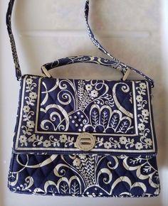 Vera Bradley Turn Lock Sachel Navy Blue Hand Shoulder bag Twirly Bird #VeryBradley #Satchel