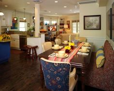 primary color dining room | from the dining room to the family room. Softened primary colors ...
