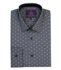 Men's Navy & Green Jay Spots Slim Fit Shirt - Single Cuff