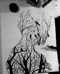 Has a lot of depth to it and really amazing to see the artists' ability to `crop' a scene of a tree branches into a confined outline and make it seem like there is still more to see. The lines also make the portrait seem naturally formed rather than having a thick outline.