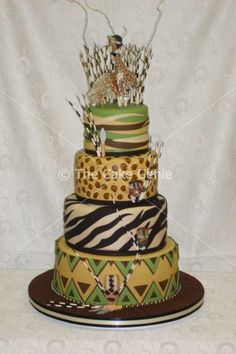 African-inspired cake by designer/artist Deon Swart, proprietor of The Cake Genie in Mondeor, Johannesburg, Gauteng, South Africa.Shared by Career Path Design Beautiful Cakes, Amazing Cakes, Africa Cake, African Wedding Cakes, Jungle Cake, Animal Cakes, Wedding Cake Designs, Wedding Ideas, Take The Cake