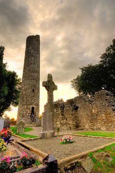 Monasterboice, Ireland: an important center of religion and learning until the 12th century. The site houses two 14th century churches and an earlier round tower, but is most famous for its 10th century high crosses