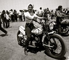 """burleskateer: """" Vintage candid photo captures Patti Waggin preparing for another motorcycle club riding competition. More pics of Patti can be found here. Motorcycle Racers, Motorcycle Clubs, Motorcycle Girls, 50cc Motorbike, Motorcycle Quotes, Motorcycle Style, Biker Style, Lady Biker, Biker Girl"""