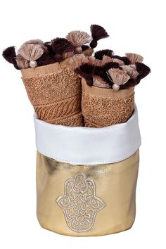 """Embroidered Hamsa towel basket, with brown cotton hands towels 2-pieces set. Perfect for gifts or for your house bathroom. Can also be used as a jewelry and make up basket.    Approx Measure : 5.5""""x6""""x3.5""""   Hamsa Towel Basket  by Le Beau Maroc . Home & Gifts - Home Decor - Decorative Objects Home & Gifts Florida"""