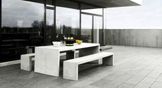 Brooklyn table and benches from MUUBS. Perfect for outdoor use. Concrete Outdoor Furniture, Outdoor Furniture Design, Concrete Table, Home Furniture, Outdoor Seating, Outdoor Tables, Outdoor Spaces, Outdoor Living, Outdoor Decor