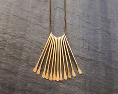 Gold Geometric Necklace Rectangle Cascade by LoopHandmadeJewelry