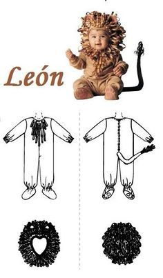 muchas ideas originales para disfraces y maquillajes halloween del trato o truco, fiestas y dias especiales, imágenes para compartir Baby Lion Costume, Baby Costumes, Halloween Costumes, Cute Costumes For Kids, Glove Puppets, Kids Dress Patterns, Le Roi Lion, Animal Costumes, Welcome To The Jungle