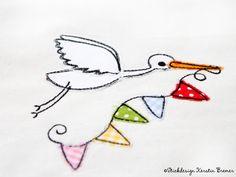 Storch Wimpel 10x10 • Doodle Stickdatei von Stickdesign Kerstin Bremer auf DaWanda.com