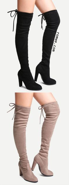 Faux Suede Point Toe Lace Up Over The Knee Boots