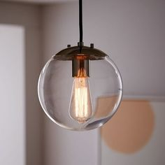 Globe Pendant - Clear | west elm  Either 1 over the sink or 2-3 over the island.