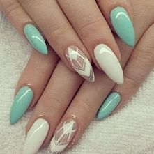 Mint white Nails