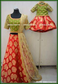 #Matching dress designs by Angalakruthi boutique Bangalore Watsapp:8884346333 Rich hand embroidery designs for mom n me dresses #Mom n Me matching dress designs by Angalakruthi Watsapp:8884346333 #lehenga designs by Angalakruthi boutique #kids lehenga designs by Angalakruthi boutique bangalore Kids Dress Wear, Dresses Kids Girl, Baby Dress, Girl Outfits, Kids Lehenga Choli, Kids Lehanga, Mother Daughter Fashion, Mother Daughters, Kids Blouse Designs