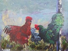 Chickens on the Farm Acrylic Print on Gator Foam by Artbycindyj