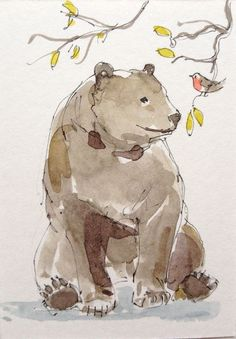 Original Watercolour Painting ACEO -Bear and Robin- by Annabel Burton