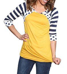 MEROKEETY Women's Polka Dots Shirt Striped Tunic 3/4 Slee...