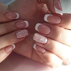 You can take a detailed look at these fashionable and simple nail designs. French Manicure Acrylic Nails, Matte Pink Nails, Best Acrylic Nails, Nail Manicure, Cute Nails, Pretty Nails, Feather Nails, Romantic Nails, Nail Techniques