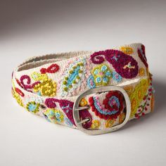 """GENIE'S PAISLEY BELT--Rural artisans reinterpret a classic paisley print with intricate hand embroidery in lively colors. Wool. Dry clean. By Jenny Krauss. Imported. Sizes S (32""""), M (34""""), L (36""""). Approx. 2""""W."""