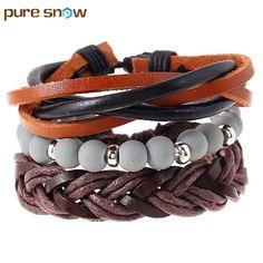 European Style Simple Handmade DIY Multilayer Braided Rope Leather Bracelet Grey Alloy Beads Bracelet Charm Jewelry Wholesale #Affiliate