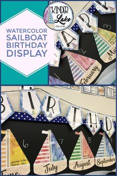 Looking for a nautical birthday display for your classroom? These watercolor sailboats will fit your nautical decor perfectly. Birthday Display In Classroom, Classroom Decor, Elementary Teacher, Elementary Education, Upper Elementary, Teacher Created Resources, Teaching Resources, Student Birthdays, Hamptons Decor