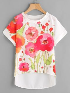 SheIn offers Florals Dip Hem Chiffon Top & more to fit your fashionable needs. Floral Tops, T Shirt Painting, Fabric Paint Shirt, Hand Painted Fabric, Painted Clothes, Cheap Blouses, Diy Clothes, Chiffon Tops, Shirt Designs