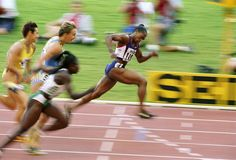 Gail Devers winning women's 100m hurdles at the Track and Field Worlds in Sevilla, 1999.