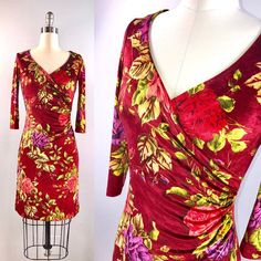 6bc83ecdfc76 Betsey Johnson 90s Dress / 1990s Dress Red Stretchy Bodycon Velvet Rose  Print Small 1990s Dress