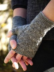 Knitting Pattern for Curling Neckwarmer and Mitts - A simple cable design adds architectural detail to these fingerless mitts and matching cowl. Two sizes (S/L). Comes with a matching cowl pattern. Designed by Anne Hanson Fingerless Gloves Knitted, Crochet Gloves, Knit Mittens, Knit Or Crochet, Knitted Hats, Kids Crochet, Knitting Stitches, Hand Knitting, Knitting Patterns