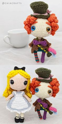 Crochet Amigurumi Free Patterns, Crochet Doll Pattern, Crochet Dolls, Knit Crochet, Handmade Dolls Patterns, Doll Patterns, Mad Hatter Costumes, Kawaii Crochet, Quick Crochet
