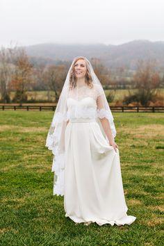 Wedding Dress: Jill Andrews Gowns, LLC - http://www.stylemepretty.com/portfolio/jill-andrews-gowns Photography: Katie Stoops Photography - http://www.stylemepretty.com/portfolio/katie-stoops-photography   Read More on SMP: http://www.stylemepretty.com/2014/11/12/virginia-fall-vineyard-wedding/