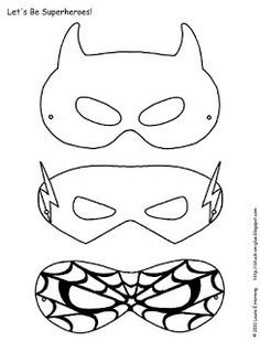 Printable super hero masks - Hours of Fun! Color them the way they want, glue to a cereal box, cut & use pipe cleaners to wrap around (or elastic) So simple & fun! Halloween, birthdays… **variation: use foam sheets!