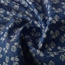 Rose Print Denim Fabric Mid Blue 147cm