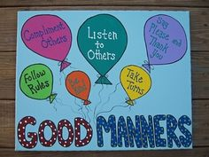 Manners: Good Manners canvas painting for your classroom or school.  This is an extra large 16 inches by 20 inches premium quality canvas original painting. It is not a print and will last for years in your classroom.  It features good manners and will surely attract the attention of your students. This sides are painted with polka dots, so no need to frame it. Just hang it as is!