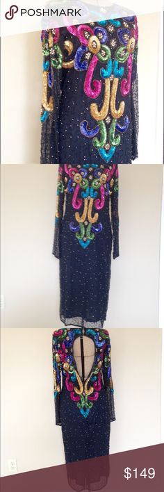 PRICE drops my closet today Vintage sequin dress S Words can't describe how gorgeous this amazing vintage beauty is!! The tag says Designer: ULTRA Design 100% silk size Small but also fits medium. All or most sequins seem to be intact. Most beads are intact but some may be loose and need tightening. Could be a few missing but this beauty is totally wearable! She needs to be dry cleaned. I have not cleaned it because I want you to receive this beauty just as I found it. The clasp hooks are…