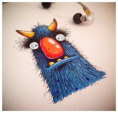 Horned monster guy. Gouache and ink.