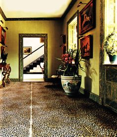 The late C.Z. Guest's famed leopard carpeting at Templeton, her Long Island estate.