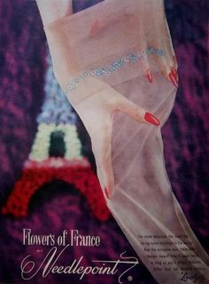 I adore the sweet, beautiful floral embroidery on these 1950s stockings.