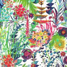 Tresco C Liberty of London Tana Lawn Fabric Tresco, a fabulously splashy floral, luscious foliage, wonderful colours, from Spring Summer 2013 Liberty of London collection. Liberty Art Fabrics, Liberty Of London Fabric, Liberty Print, Motif Floral, Floral Prints, Floral Fabric, Textures Patterns, Print Patterns, Fabric Patterns