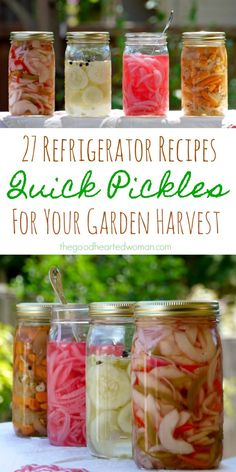 27 Quick Pickle Recipes for Your Garden Bounty - Quick pickles are delicious, small-batch friendly, and super easy to make. Plus, they require no special equipment and are usually ready to eat within a day or two of preparation. Fermentation Recipes, Canning Recipes, Canning 101, Pickled Vegetables Recipe, Pickling Vegetables, How To Pickle Vegetables, Pickled Asparagus, Pickled Garlic, Pickled Radishes