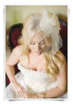 i love the double layer bird cage veil