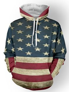 Star Print Color Spliced Striped Pullover Hoodie